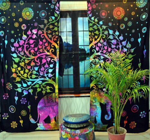 Indische Mandala Fenster Behandlunge 2 Panel Set Raumteiler Balkon Dusch Vorhan