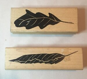Set-of-2-A-STAMP-IN-THE-HAND-Wood-Mounted-Rubber-Stamp-BOLD-Fall-LEAF