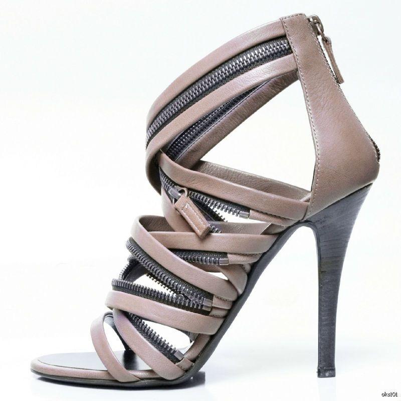 Nuevo  945 Giuseppe Zanotti para Balmain Taupe Taupe Taupe cremalleras Puntera abierta Tacones Zapatos 38 US 8  barato en línea