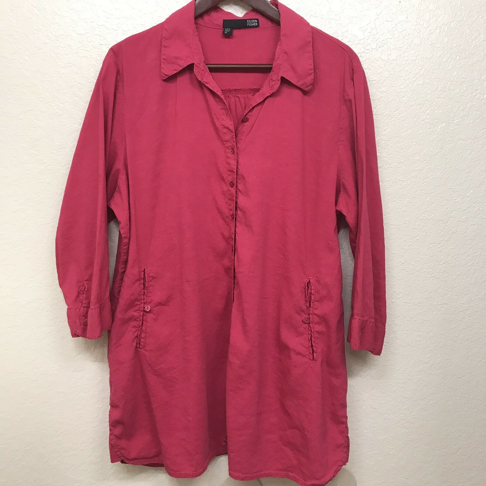 Eileen Fisher XL Linen Blend Blouse Hot Rosa Shirt Tunic Top Button Down FLAW