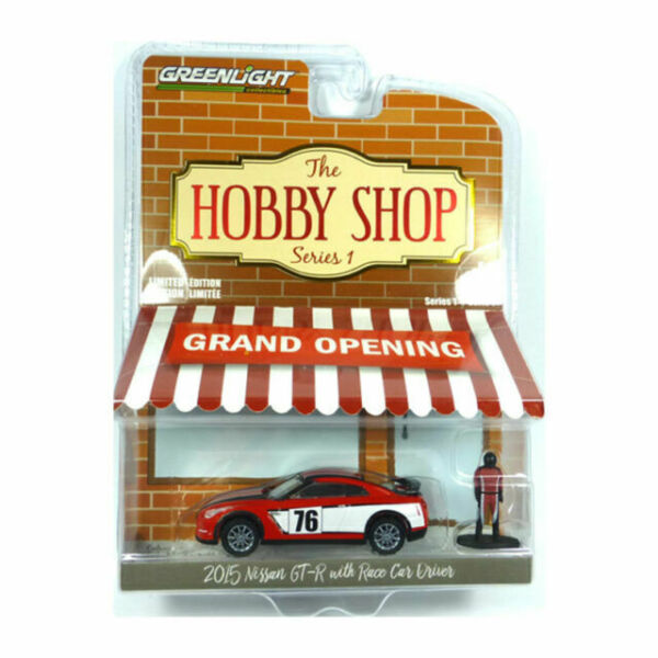 2015 Nissan GT-R R35 Red #76 with Race Car Driver The Hobby Shop Series 1 1//64 Diecast Model Car by Greenlight 97010 E