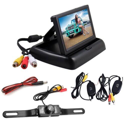 "Backup Wireless License Plate Camera Kit 4.3/"" LCD Waterproof Rear View Monitor"