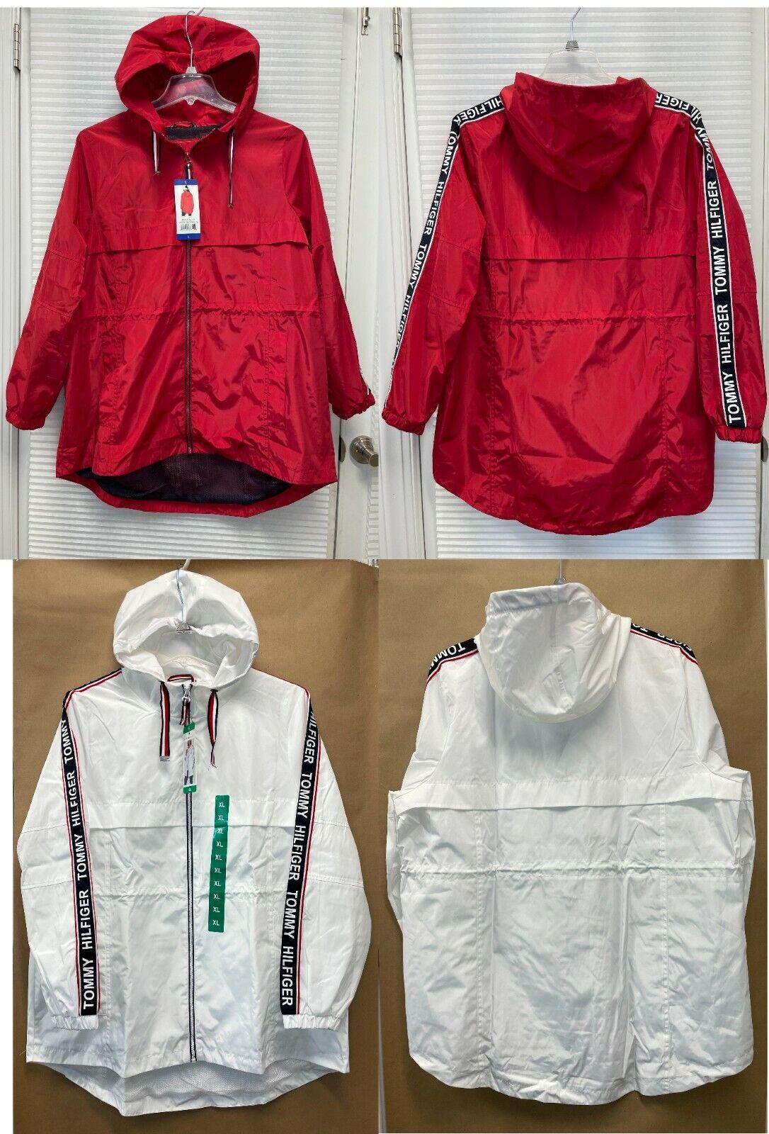 Tommy Hilfiger Womens Light Weight Long Windbreaker Hooded Rain Jacket - NWT