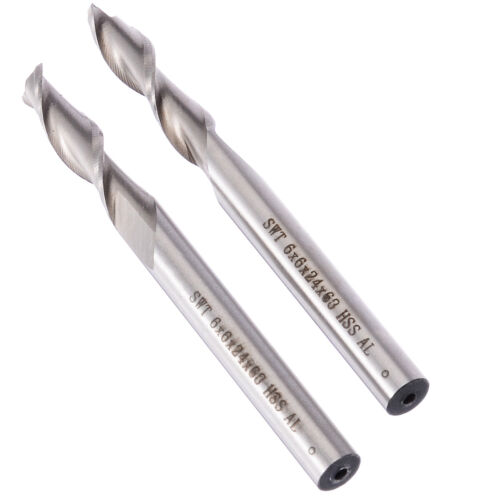 5x HSS Extra Long 6mm 2 Flute Straight Shank Aluminium End Mill Cutter Bit 68mm