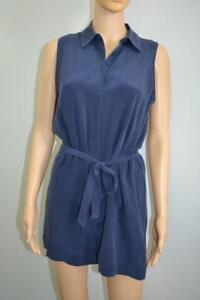 NWOT-Equipment-Navy-Blue-Silk-Belted-Sleeveless-Romper-Size-XS