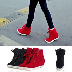 Fashion-Women-039-s-High-Top-Lace-Up-Athletic-Sneakers-Shoes-Lady-Wedge-Ankle-Boots