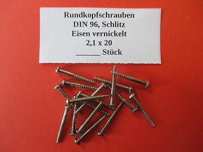 20,50,100 Stück Holzschrauben 2,1 x 20 mm Rundkopf DIN 96 Eisen vernickelt