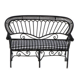 1:12 Double Chair Sofa Metal Miniature Lounge Couch Furniture Red White