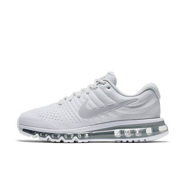 size 40 7417a 89391 Nike Air Max 2017 White Wolf Grey Platinum 849559-009 Men's Running Shoes  NEW!