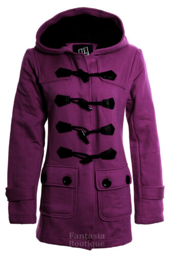 New Women/'s Duffle Trench Hooded Pocket Ladies Coat Jacket