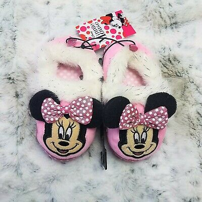 Disney Minnie Mouse Girls Bedroom Slippers Slip On Pink Kids Toddler Shoes  New | eBay