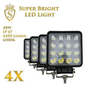 4X-48W-LED-Arbeitsscheinwerfer-Offroad-Scheinwerfer-12V-24V-fuer-Jeep-SUV-Bagger