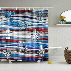Anchor Lighthouse Nautical Theme Fabric, Lighthouse Bathroom Sets