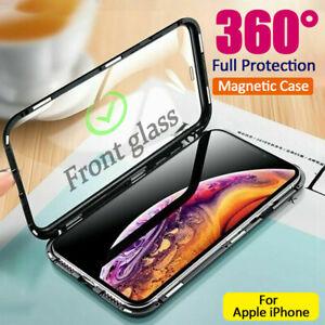 360-Glas-Handyhuelle-Magnet-Case-Metall-Bumper-Fr-iPhone-11-X-XR-XS-Max-7-8-Plus
