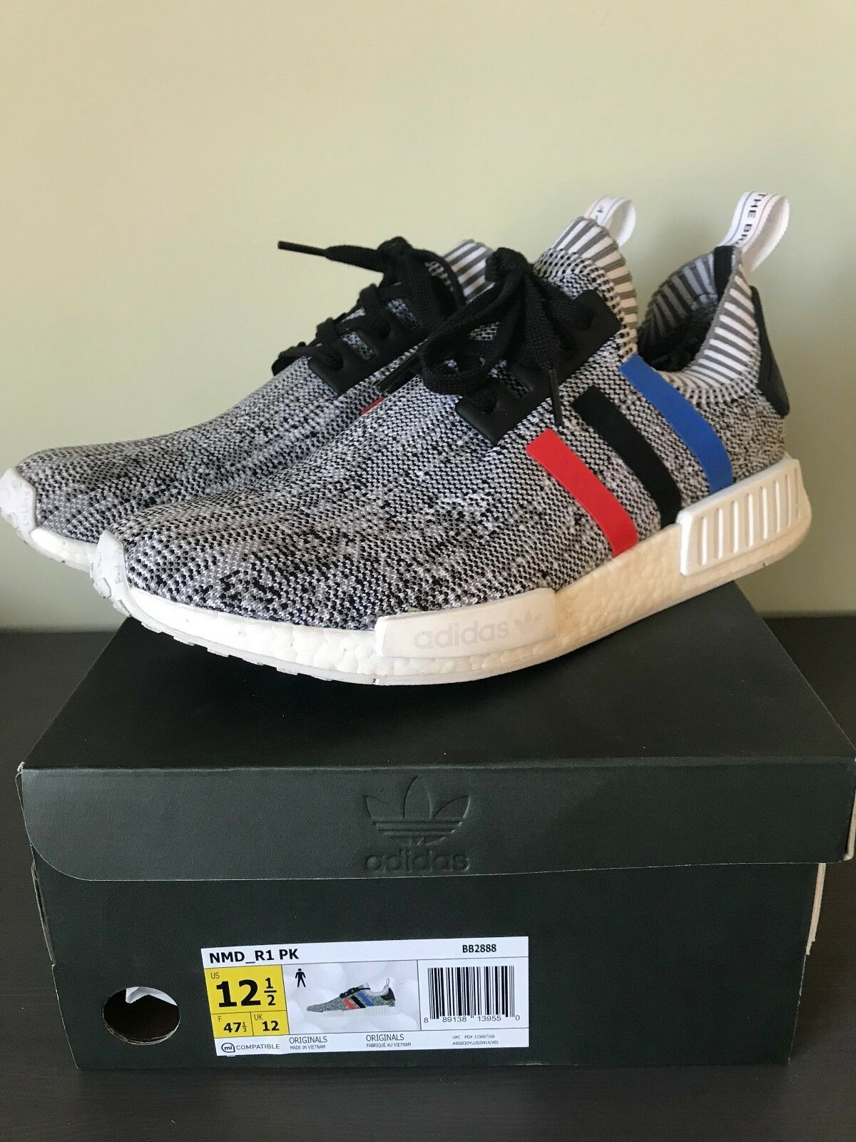 Adidas NMD R1 Primeknit Tri-Color Grey/White BB2888 SIZE 12.5 USED 9/10