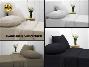 Fitted Sheet Plain Luxury Egyptian Cotton 200 Thread Count Bedding All UK Sizes