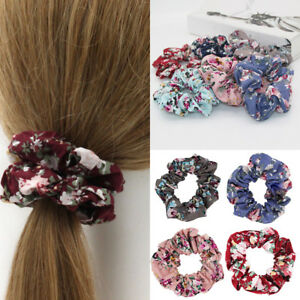 Retro-Vintage-Floral-Cotton-Scrunchies-Flower-Hair-Ties-Women-Hair-Accessories