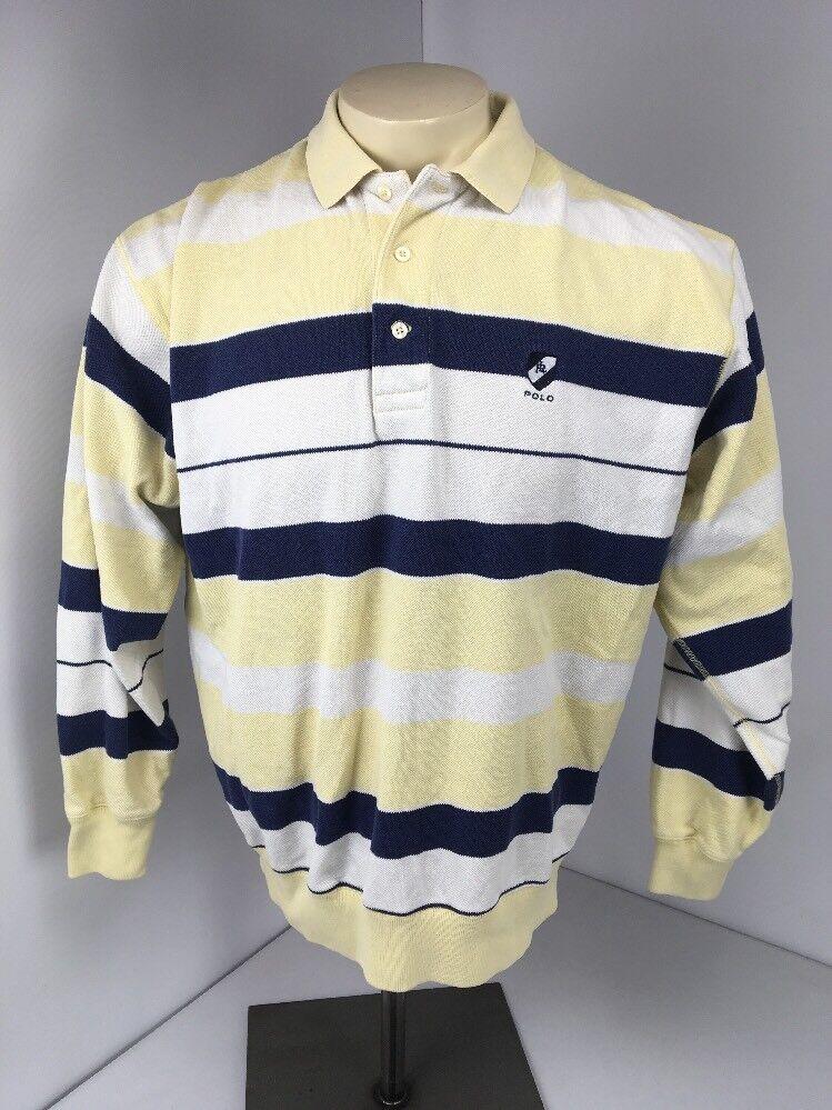 Vtg 90s Polo Ralph Lauren Yellow bluee White Striped Collared L S T-Shirt Sz L