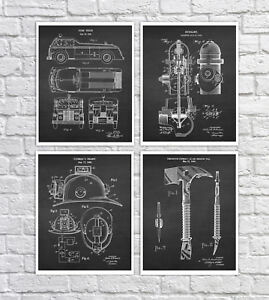 Firefighter Gifts Firefighting Patents Wall Art Prints Set Of 4 Fireman Decor