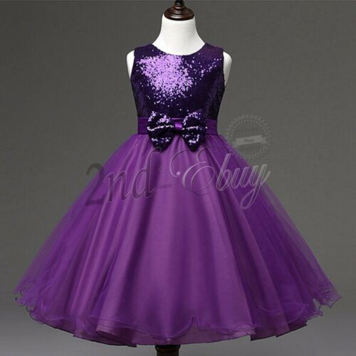 Flower Girl Princess Tulle Dress Pageant Wedding Birthday Party Formal Bow Dress