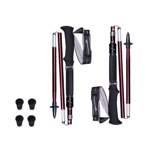 1 Pair Folding Trekking Poles Aluminum Collapsible Adjustable Walking Sticks