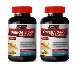 Vision Supplements Omega 3 6 9 Fish Oil 1200mg Brain Focus 2 Bottles Ebay