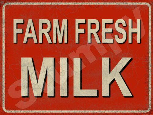 "Farm Fresh Milk Metal Sign 9/"" x 12/"" or 12/"" x 16/"""
