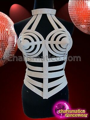CHARISMATICO White Vinyl High Necked Cage Corset Top Inspired By Madonna