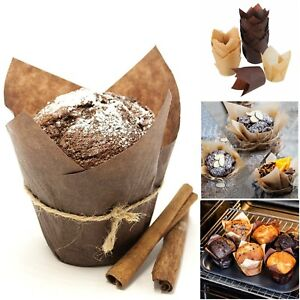 Tulip Baking Cups Muffin Liner Cupcake Brown Bake Large
