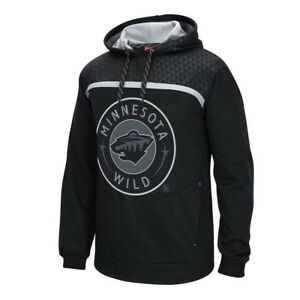 the best attitude 724b7 f6758 Details about Minnesota Wild Reebok Cross Check Primary Logo Black Pullover  Hoodie Men's