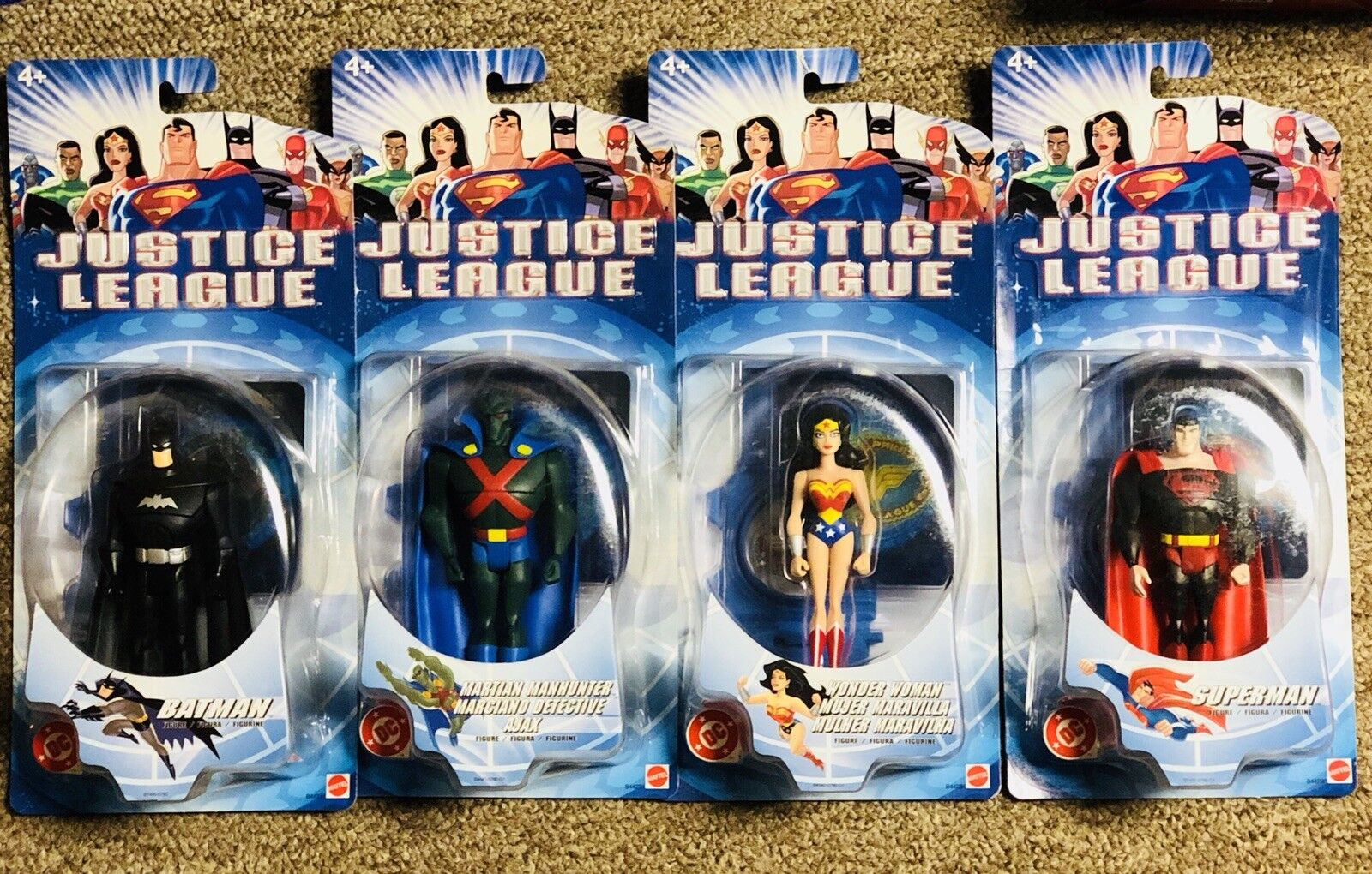 Mattel, Justice League 2003 Figure lot, set of 4, Batman, Wonder Woman, Superman