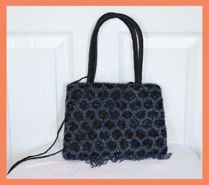 Heavy-Beaded-Black-Color-Satin-Hand-Bag-Evening-Purse-from-India