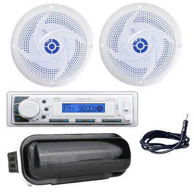 "4 Cover Antenna Pyle Boat Receiver, 6.5/"" 240W Marine Speakers w// LED Lights"