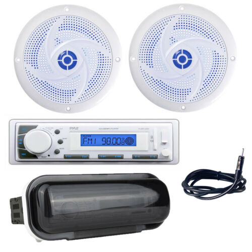 Antenna//Cover Pyle Stereo Headunit Receiver 4/'/' 100W Marine Speakers with LEDs