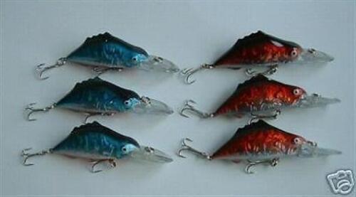 """6 NEW Diving Fishing Crankbait Lure Lot Bait 3.75/"""""""