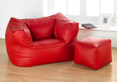 Faux Leather Bean Bag Gaming Chair And Footstool Three Colours UK Red