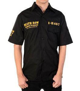 Death-Row-Black-Button-Down-Shirt-M-or-2XL-cotton-short-sleeves-NEW-goth-metal
