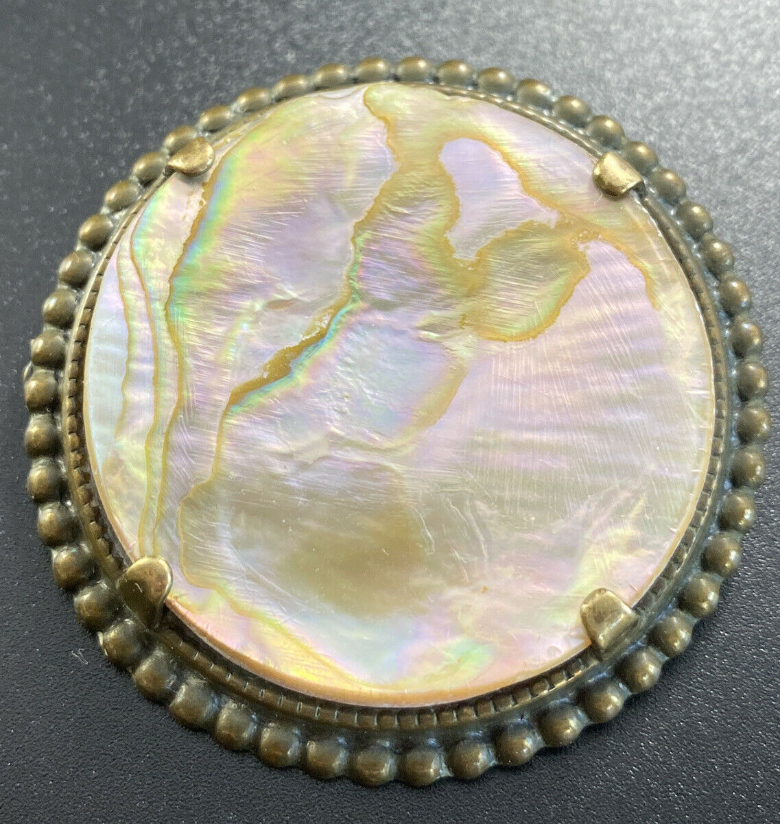 Vintage Mother Of Pearl Abalone Brooch Round Pron… - image 4