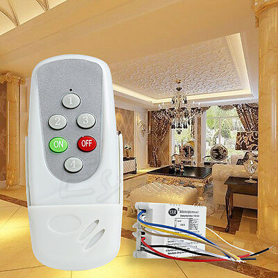 Anti-interferen Wireless 4 Ways Remote Control ON/OFF 220V Light Lamp Switch
