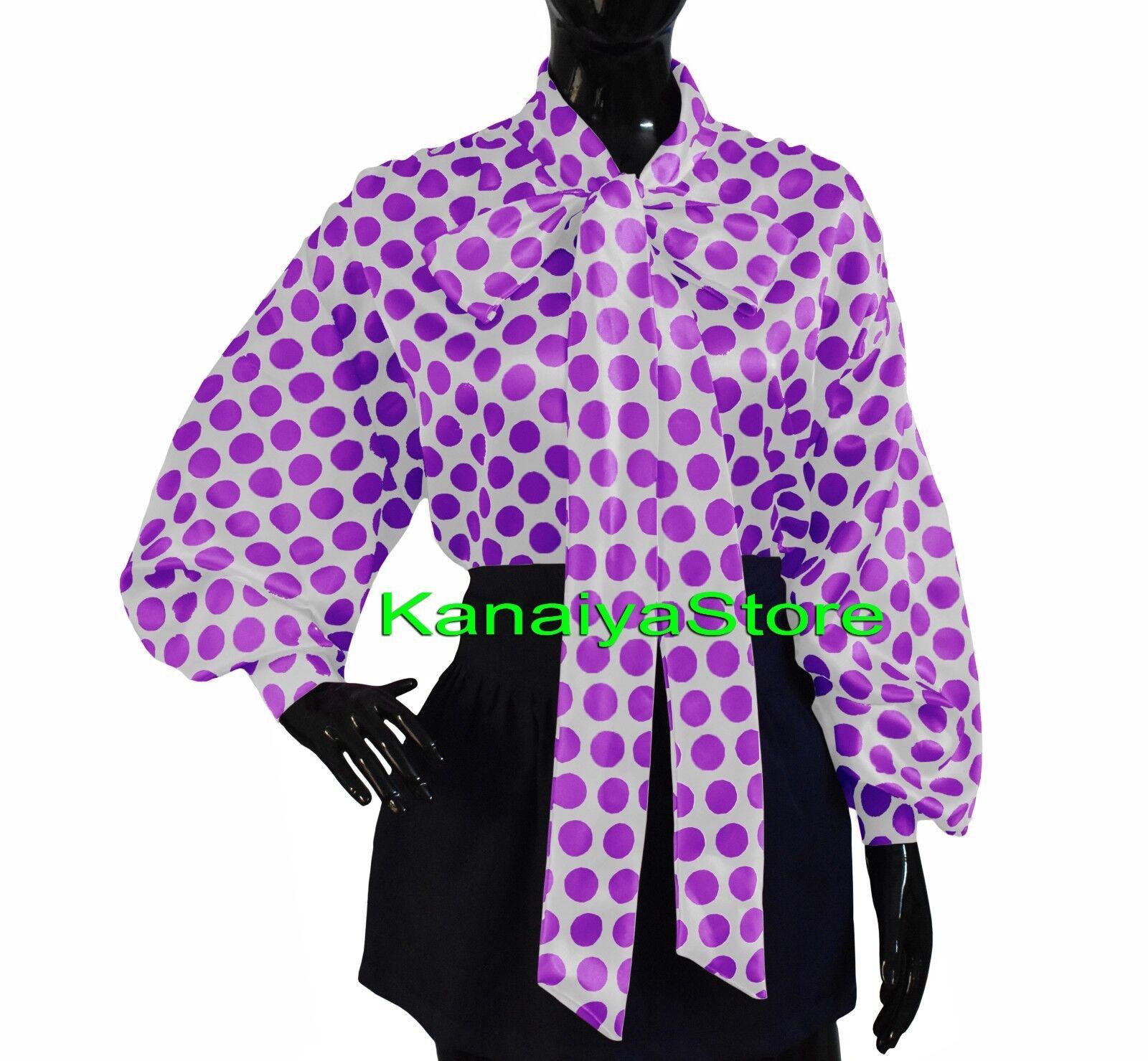 Weiß & Medium lila - damen Polka Dot Satin Bow Toe Shirt Blouse