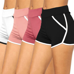 Summer-Solid-Pants-Women-Sports-Shorts-Gym-Workout-Waistband-Yoga-Running-Shorts