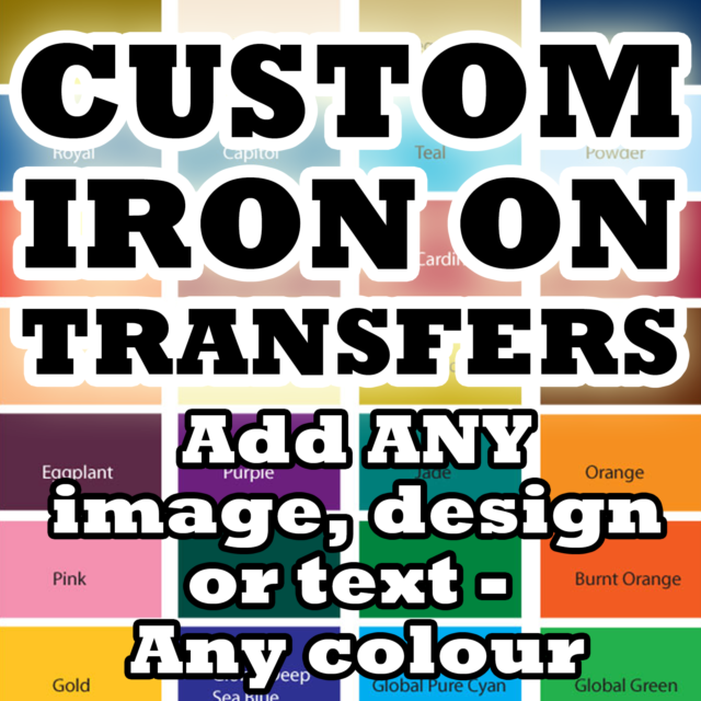 Custom Iron On T Shirt Transfer Personalised Any Name Text Green Font Light