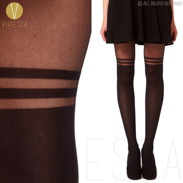 DOUBLE STRIPE MOCK OVER THE KNEE TIGHTS - Vintage Old School College Pantyhose
