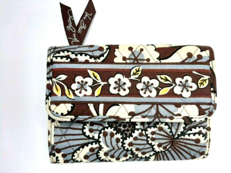 Vera Bradley Wallet Mini Small Tri Fold Clutch Slate Blooms Moderate Cost