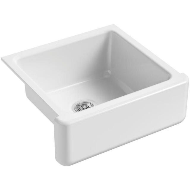 Cast Iron Apron Front Sink.Kohler Whitehaven Farmhouse Apron Front Cast Iron 24 In Single Bowl Kitchen Sink