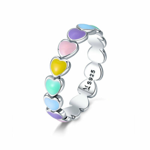Colorful Rainbow Heart S925 Silver Fashion Ring /& Earring Jewelry For Women New