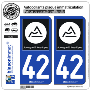R/égion blasonimmat 2 Autocollants Plaque immatriculation Auto 42 Auvergne-Rh/ône-Alpes