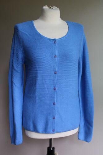 Talbots S Blue Square Button-Front Cotton Blend Kn