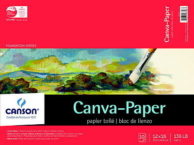 Canson Paper Pre-Primed Canvas Pad, 12 X 16 Inches, 10 Sheets