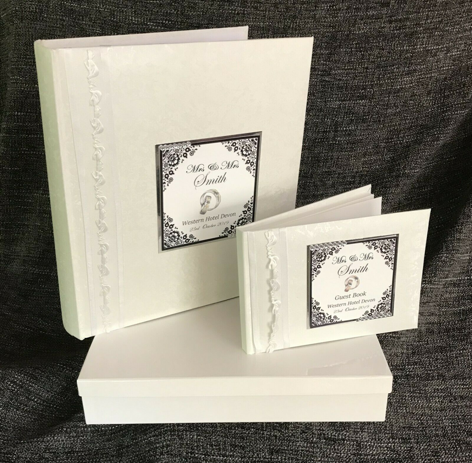 Personalised MRS & MRS  Large Weiß Wedding Album & GUEST BOOK    PG3